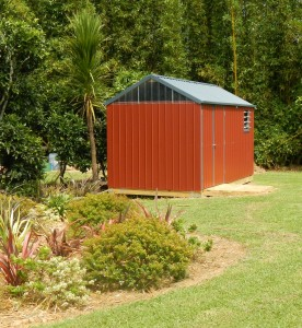 Ride on mower shed & workshop red